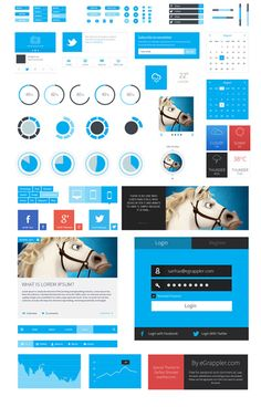 User Interface blue red black preloaders form