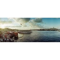 Ferries along the Bosphorus Istanbul Turkey Canvas Art - Panoramic Images (30 x 12)
