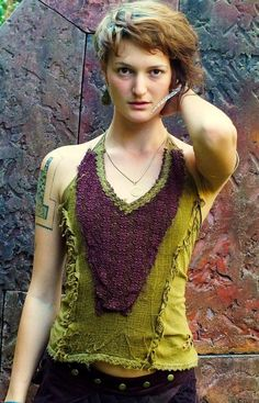 Tinkerbell Top (Green/Brown) - Handmade Festival Top, Boho Style, Ideal For Doofs, Hippie Top, Sexy Shirt
