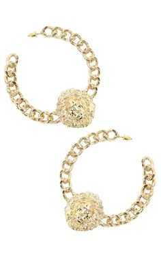 Lion Head Chain Hoop Earrings GOLD