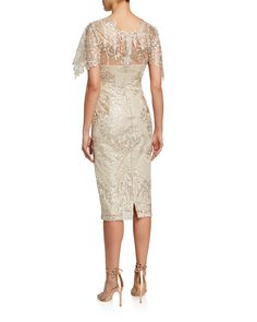 Badgley Mischka Collection Embroidered Lace Sheath Dress   Neiman Marcus Lace Sheath Dress, Bodycon Dress, Glamorous Evening Gowns, Knee Length Cocktail Dress, Bridal Shower Games, Embroidered Lace, Badgley Mischka, Occasion Dresses, Beautiful Dresses