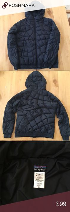 Black Patagonia down jacket Goose down. Worn a few times, no flaws. Super warm, fluffy, and soft. Great for camping. Two hand pockets with zippers and one inside zipper pocket. Women's XL Patagonia Jackets & Coats Puffers