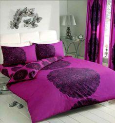 Manhattan Duvet Quilt Cover Bedding Set | Black-Fuchsia — Linens Range