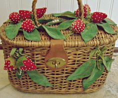 Vintage Wicker Woven Purse With Felt and Velvet by AloofNewfWhimsy, $62.00