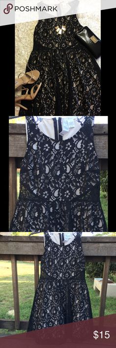 "🌼BCNU Dress EUC ❣Lowest Price❣ NWT BCNU Black lace over tan lining skater style dress. Size small shell 70% cotton 30% nylon lining 100% polyester. Measures: shoulder to bottom of dress is 31"" and armpit to armpit is 14"". Wet Seal Dresses Mini"