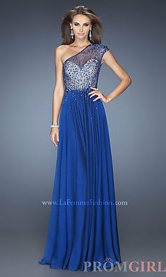 La Femme One Shoulder Long Gown at PromGirl.com