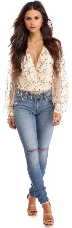 $34.99 Flowing Sequins Long Sleeves Bodysuit