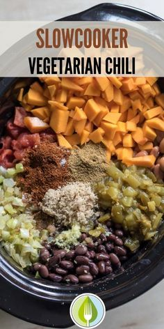 Easy Fall Recipe!  Butternut Squash and spices make a hearty and filling fall chili. Through the ingredients in a slow cooker for an easy winter meal. Crockpot chili recipe.