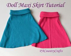 PACountryCrafts: Easy Doll Maxi Skirt Tutorial - These are the easiest doll clothes I've ever sewn, and they look great! This would be a fantastic first sewing project for a girl.