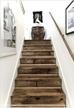 love these old stairs with the crisp white walls