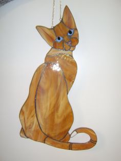 Tiffany Stained Glass Suncatcher - Cat