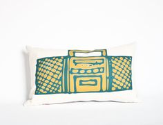 Boombox pillow organic hand printed with by EarthCadets on Etsy