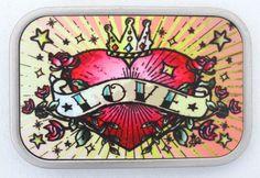Belt BuckleTattoo Art Heart Crown Love Roses Stars Silver Metal Rock Punkrock #BuckleDown