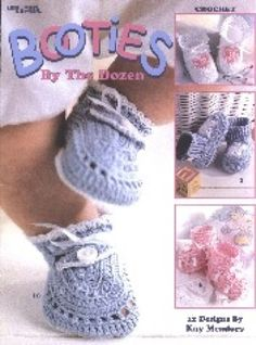 Keep Baby's little tootsies warm in these crocheted booties. Bedspread-weight cotton thread (size 10) works into footwear fashion for newborn to three-month-old babies. Styles range from high-top sneakers to dainty dress-ups.