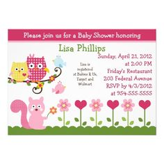 Happy Tree Owls Baby Shower Invitation