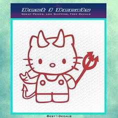 Hello Kitty Devilish D3 Decal Sticker Cat Halloween Costume Cartoon Ring Weapon