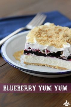 Blueberry Yum Yum recipe from Southern Bite. An easy layer dessert recipe that will WOW!