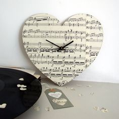 Personalised Handmade Vintage Music Heart Clock by remadePAPERWORKS on Etsy https://www.etsy.com/listing/212145999/personalised-handmade-vintage-music