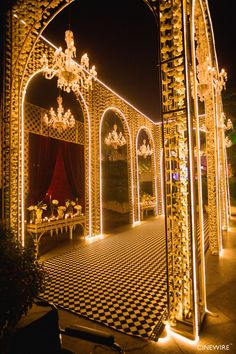 Picture from Tanvi & Co. Photo Gallery on WedMeGood. Browse more such photos & get inspiration for your wedding Wedding Stage Backdrop, Wedding Hall Decorations, Wedding Stage Design, Desi Wedding Decor, Marriage Decoration, Wedding Entrance, Entrance Decor, Stage Backdrops, Wall Decorations