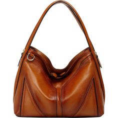 Vicenzo Leather Elle Leather Hobo Hobo ($248) ❤ liked on Polyvore featuring bags, handbags, shoulder bags, brown, leather handbags, leather purse, leather hobo handbags, brown shoulder bag and leather hand bags