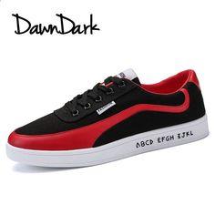 sports shoes 6484f 41a54 Férfi divat cipő Tavaszi nyári férfi Alkalmi vászon cipő Lace Up Fekete  piros férfi nem bőr Casual Flat cipő
