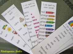 cards with color words, number words, and then the 'FUN' cards
