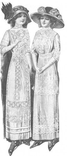 1913 Edwardian lace white tea dresses with picture hats aka Garden Hats