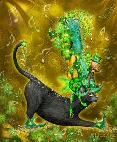 With golden notes a flyin' Shamrocks sparklin' A Leprechaun fiddlin' And green elf shoes tappin' What would you expect to find On top of and beneath all that Of course ... it's a dancing black cat Wearing an Irish Jig Hat.  Cat In Irish Jig Hat prose by Carol Cavalaris  This whimsical art of a black cat wearing a fanciful Irish jig hat, decorated with golden notes, jeweled shamrocks, golden violin, and a fiddling Leprechaun, is from the Cats In Fancy Hats collection by Carol Cavalaris.