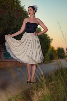 Vintage blogger RetroCat wearing a retro skirt and the Strapless Longline Bra by Secrets in Lace.