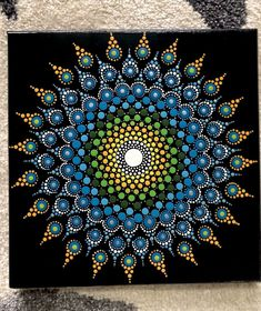 Mandala dot Painting 10x10 inches(hand painted) | Art, Paintings | eBay! Mandala Painted Rocks, Mandala Rocks, Mandalas Painting, Mandalas Drawing, Dot Art Painting, Stone Painting, Pinterest Diy Crafts, Mandala Canvas, Creation Deco