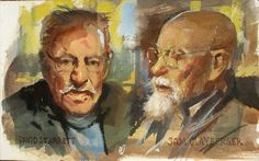 Restaurant portraits of David Starrett and Sam Clayberger, 5x8 inches, gouache by James Gurney