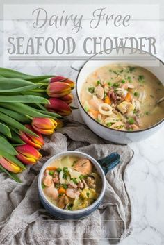 Delicious Dairy Free Seafood Chowder. All of the taste, none of the lactose :) #poweroffrozen