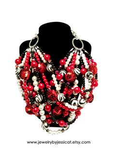 CLASSIC Statement Necklace Red White Black by JewelryByJessicaT
