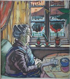 """Hans Körnigs Mutter, ein wiederkehrendes Motiv in seinen Werken. Familie & Herkunft war ein zentrales Thema für Körnig. In der aktuellen Ausstellung """"Winter..."""" ist das Ölgemälde zu sehen. Vorlage für das Werk war die Zeichnung """"Meine Mutter am Fenster, 1929"""". http://www.dresden.de/veranstaltungen-tourismus/snm_vkal_frontend/events/detail/22236    Reproduktion: Olaf Börner/ Museum Körnigreich"""