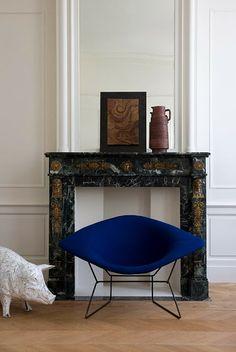 Harry Bertoia Diamond chair, electric blue Miluccia: Vintage Living