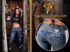 Jean para mujer con pedrería. Tela stretch, levanta cola y bota tubo. Jeans…