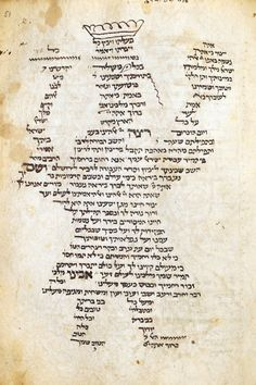 14th C. Parchment codex, France. Carmina figurata (written text that forms an image).  A king at a blessing from a Jewish prayer book, Mahzor, for Rosh ha-Shanah. Hebrew, Ashkenazi  square script, partially punctuated. Scribe: Hayyim. British Library.
