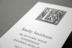 250 letterpress business cards for £59 - Goudy Initial letterpress business cards – blush°°