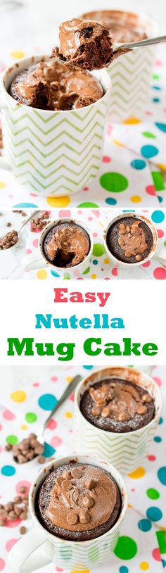 I can't wait to try this nutella mug cake recipe! It looks so easy. (Mug Cake Recipes) Mug Recipes, Sweet Recipes, Baking Recipes, Microwave Recipes, Chocolate And Vanilla Cake, Chocolate Desserts, Easy Desserts, Dessert Recipes, Appetizer Recipes