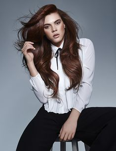 Looking for long hair inspiration? Add some longer layers, sweeping side fringe and lots of volume and shine for the ultimate glamorous blowdry. From Francesco Group's 2016 Collection. Side Fringe, Brunette Color, Hair Color And Cut, Ginger Hair, Blow Dry, New Hair, Hair Inspiration, Curls, Hair Beauty