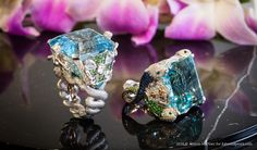Left: Alessio Boschi ring dedicated to Fontana de Moro& Right: dolphin ring with a 56.04 cts aquamarine dedicted to Fontana del Tritone