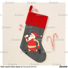 beer santa claus xmas christmas stocking Ugly Christmas Sweater, Christmas Stockings, Christmas Gifts, Funny Xmas Gifts, Santa Claus Is Coming To Town, Invitation Cards, Art For Kids, Color Schemes, Art Pieces