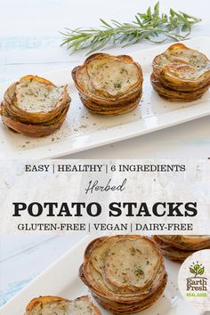 These Herbed Potato Stacks are a crowd-pleasing appetizer. EASY. HEALTHY. 6 INGREDIENTS. GLUTEN-FREE. VEGAN. DAIRY-FREE. RECIPE. FOOD. POTATOES. EARTHFRESH. Potato Appetizers, Appetizer Recipes, Party Recipes, Holiday Recipes, Herbed Potatoes, Healthy Potatoes, Dairy Free Recipes, Vegetarian Recipes, Healthy Recipes