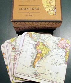 World map coasters.  The set of 6 makes a vintage world map.