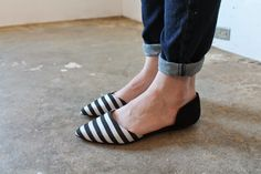 black and white striped flats