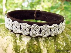 VIKING Celtic Bracelet - Luxury Lambskin Lapland Sami Bracelet Custom Handmade in Dark Brown Leather, Braided Spun Pewter Silver Wire and Antler button. Natural Elegance.
