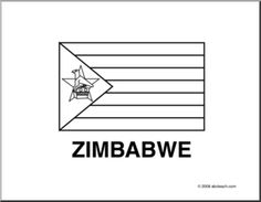 flag zimbabwe line drawing of zimbabwe flag to color