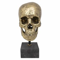 Skull on Stand, Brass Metal Skull, Brass Metal, Skull Art, Cat Accessories, High Fashion Home, Black Marble, Wood Sculpture, Metal Sculptures, Old Things