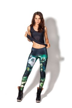 Size S - LOTR Montage Green Leggings by Black Milk Clothing