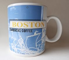 STARBUCKS 1998 BOSTON 20 OZ MUG Wrap around with famous scenes, such as Boston Common, Paul Severe, Government Center, Boston port